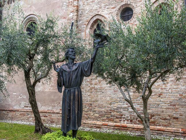 Italy - September 18,  2015: Italy,  Veneto,  Treviso,  bronze statue of Saint Francisco
