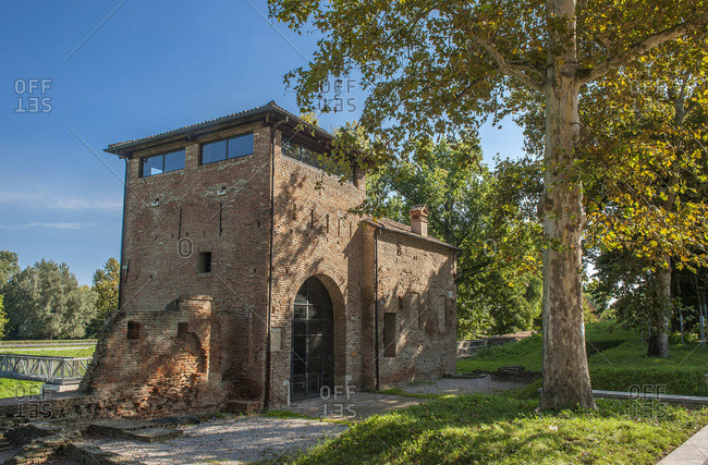 Italy - September 15,  2015: Italy,  Emilia-Romagna,  Ferrare,  door Degli Angeli on the ramparts