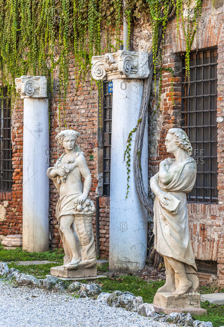 Italy - September 17,  2015: Italy,  Veneto,  Vicenza,  courtyard of the Olympic Theatre (UNESCO World Heritage)