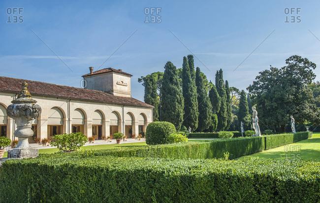 Italy - September 18,  2015: Italy,  Veneto,  farm buildings of the Villa veneta Emo (16th century,  by Andrea Palladio)