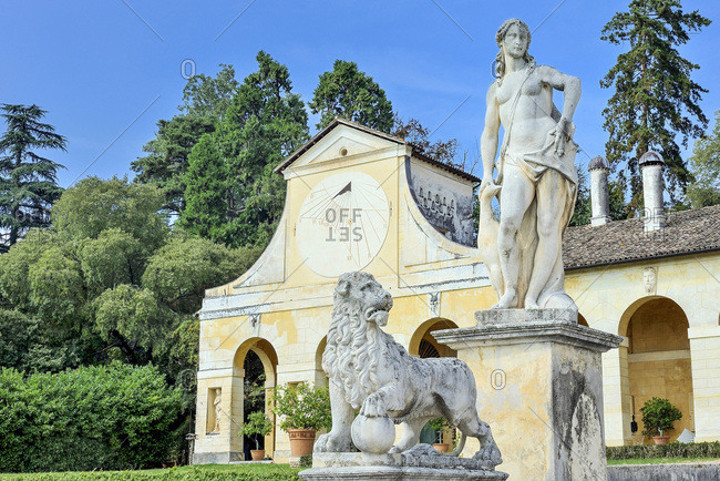 Italy - September 18,  2015: Italy,  Veneto,  farm building of the Villa Veneta Barbaro (villa Volpi) (16th century,  by Andrea Palladio)