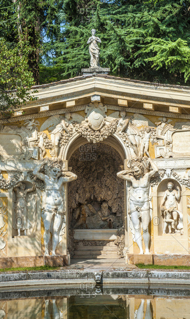 Italy - September 18,  2015: Italy,  Veneto,  Villa Veneta Barbaro (villa Volpi) (16th century,  by Andrea Palladio),  cave of the park