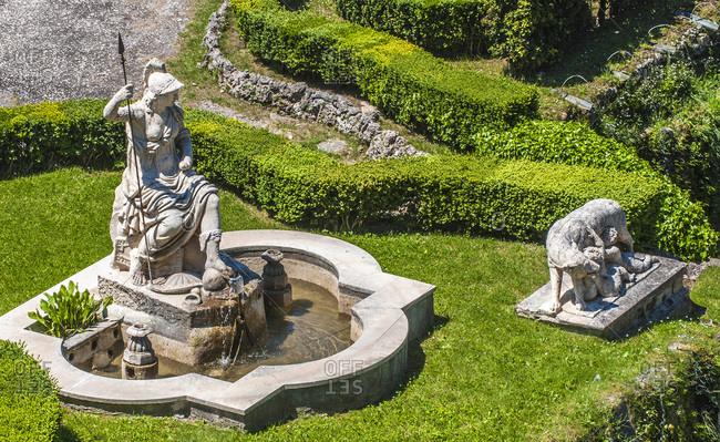 Italy - May 10,  2015: Italy,  Lazio,  Tivoli,  fountain of the gardens of the Villa d'Este (Renaissance) (UNESCO World Heritage Site)