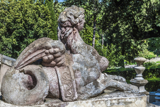Italy - May 10,  2015: Italy,  Lazio,  Tivoli,  gardens of the Villa d'Este (Renaissance) (UNESCO World Heritage Site)