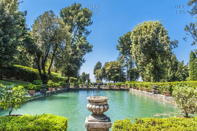 Italy - May 10,  2015: Italy,  Lazio,  Tivoli,  lake of the gardens of the Villa d'Este (Renaissance) (UNESCO World Heritage Site)