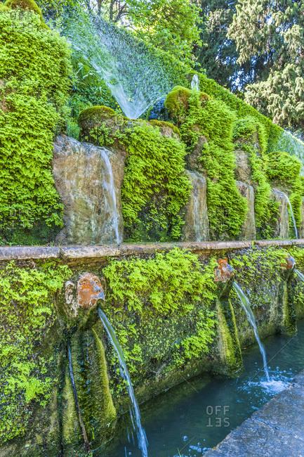Italy - May 10,  2015: Italy,  Latium,  Tivoli,  fountain of the garden of the Villa d'Este (UNESCO World Heritage),  Renaissance