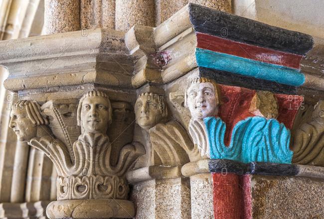 France,  Limousine,  Correze,  Tulle,  cloister of the abbey Saint-Martin-et-Saint-Martial,  coloration test on a sculpted capital