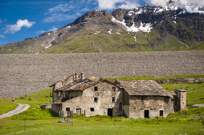 France,  Savoie,  cows and abandoned farm in the mountain pastures at the foot of the mountains and glaciers of the Mont Cenis col