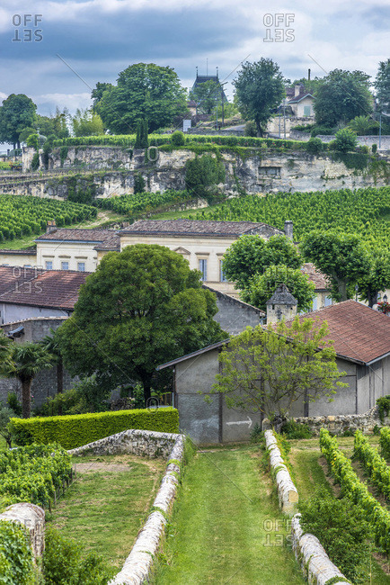 France,  Gironde,  Saint Emilion (UNESCO World Heritage Site),  view from the Porte Brunet (Chateau Ausone at the bottom,  1er grand cru classe A of the Saint Emilion AOC)
