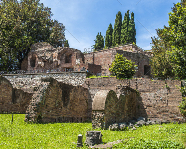 Italy,  Rome,  Mount Palatine,  remains of ancient Rome