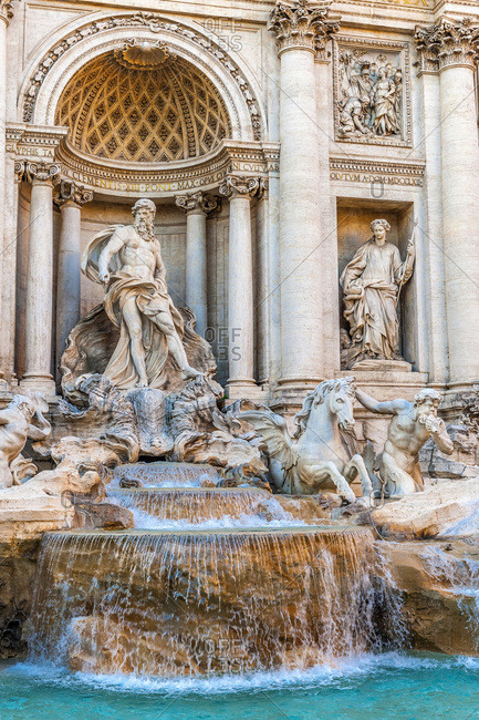 Italy - May 7,  2015: Europe,  Italy,  Rome,  Quirinal district,  Trevi Fountain with the statue of Neptune (17th century by Nicola Salvi)