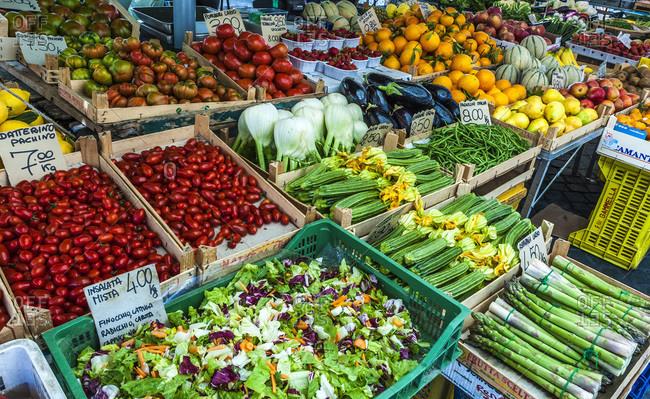 Europe,  Italy,  Rome,  Campo dei Fiori district,  vegetable and fruit stalls on the Campo dei Fiori market
