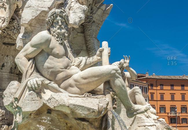 Italy - May 11,  2015: Italy,  Rome,  Piazza Navona,  fontana dei Quattro Fiumi (17th century,  by Le Bernin),  allegory of the Ganges