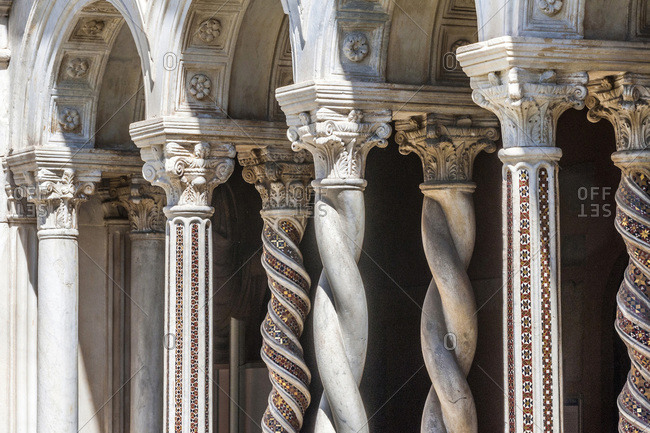Italy,  Rome,  Basilica of St Paul Outside the Walls (4th-19th centuries),  twisted columns with mosaics of the Cosmatesque Cloister (13th century)