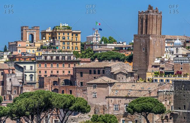 Italy,  Rome,  Torre delle Milizie (13th century) on the edge of the Roman Forum