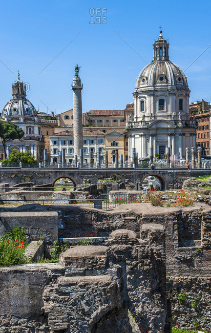 Italy,  Rome,  Imperial Forums,  Ospedale dei Cavalieri Gerosolimitano (13th century) in front of the Colonna Traianei (2nd century),  and churches San Urbano (17th century) and Santissimo Nome di Maria