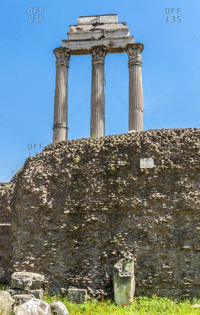 Italy,  Rome,  Roman Forum,  Tempio dei Castori (of Castor and Pollux,  5th century BC)