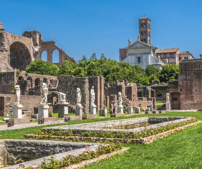 Italy - May 8,  2015: Italy,  Rome,  Roman Forum,  Atrium of the Casa delle Vestalli