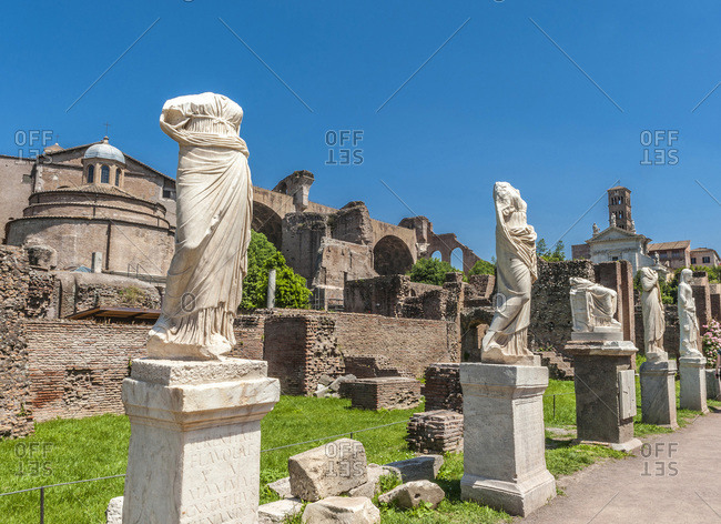 Italy - May 8,  2015: Italy,  Rome,  Roman Forum,  Atrium of the Casa delle Vestalli with statues of Great Vestals (3rd-4th centuries)