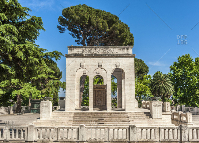 Italy - May 11,  2015: Italy,  Rome,  Trastevere district,  Gianicolense Mausoleum and Ossuary of the 1st Italian War of Independence in 1849