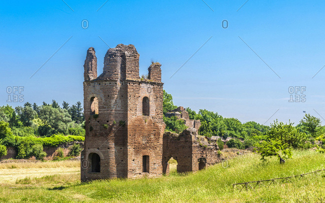 Italy,  Rome,  via Appia Antica,  Villa and Circus of Maxentius (Mausoleum of Romulus)