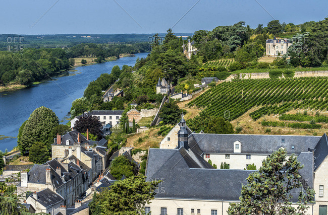 France,  Center-Val de Loire,  Indre-et-Loire,  view of the Vienne and the vineyards from the Royal Fortress of Chinon