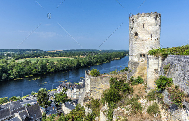 France,  Center-Val de Loire,  Indre-et-Loire,  view of the Vienne from the Royal Fortress of Chinon,  Moulin tower and ramparts