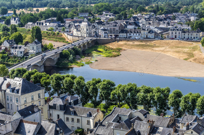 France,  Center-Val de Loire,  Indre-et-Loire,  view of the Vienne and the Faubourg Saint Jacques from the Royal Fortress of Chinon
