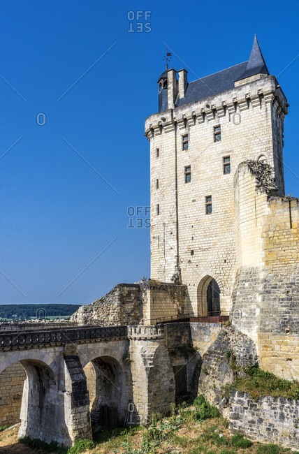 France,  Center-Val de Loire,  Indre-et-Loire,  Royal Fortress of Chinon,  moat and Clock Tower (14th century)