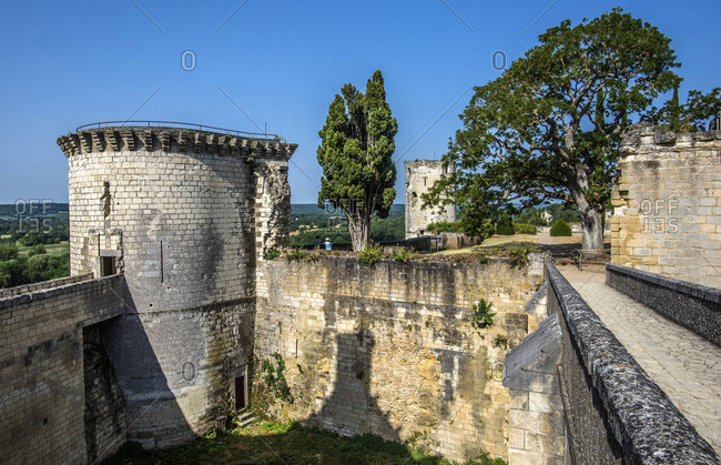 France,  Center-Val de Loire,  Indre-et-Loire,  Royal Fortress of Chinon,  bridge and tower of Boissy
