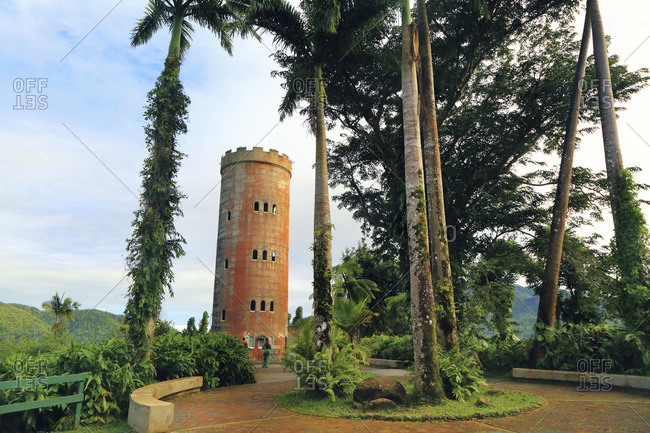 USA - February 19,  2019: Usa,  Porto Rico,  El Yunque,  forest. Yokah�,  observation tower