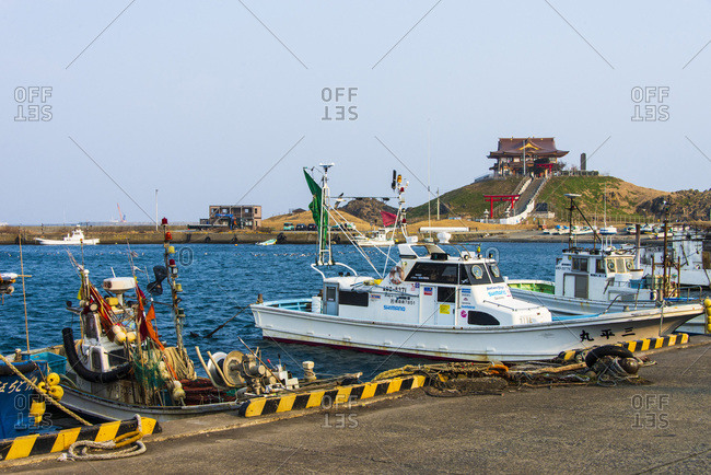 Japan - March 2,  2019: Hachinohe harbor. Along the Michinoku Coastal Trail,  Tohoku,  Honshu,  Japan.