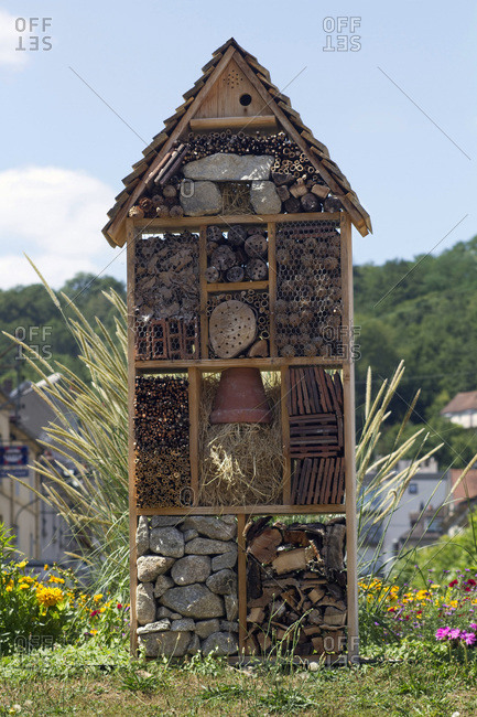 France,  Aubusson,  23,  insect hotel installed on a roundabout.