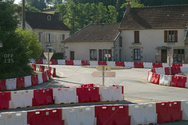France - August 9,  2019: France,  Aubusson,  23,  provisional layout on the D990 to divert traffic during works.