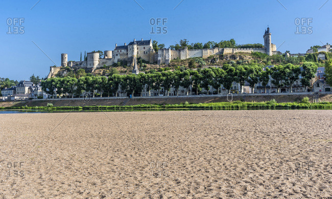 France,  Center-Val de Loire,  Indre-et-Loire,  Royal Fortress of Chinon,  f sand and dryed Vienne.