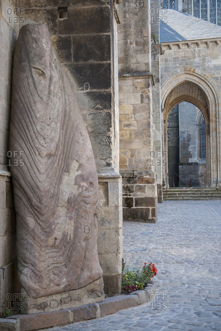 Standing stone brought to the cathedral from antique site,  Le Mans,  France