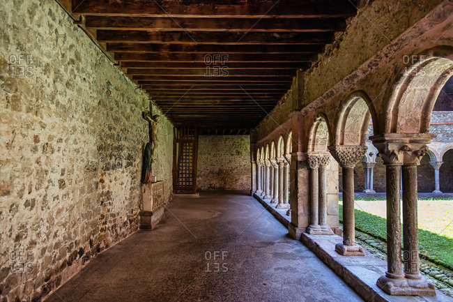 Cloister of the Saint Lizier cathedral,  Ariege department,  Pyrenees,  Occitanie,  France