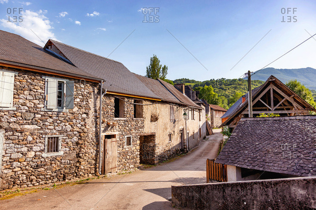 Stone house in the village of Audressein in the department of Ariege,  in the Pyrenees,  in the Occitanie region,  in France