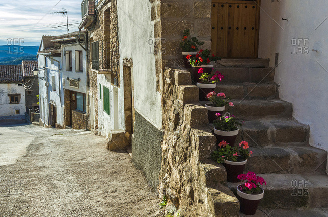 Spain,  Aragon, street in the village of Riglos