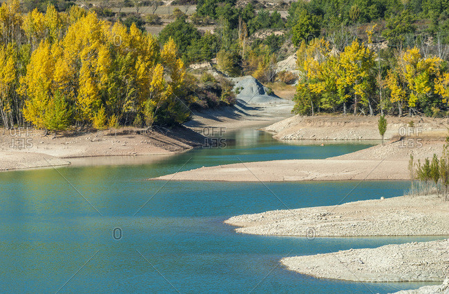 Spain,  Aragon,  lake of Pena irrigation dam on the Rio Gallego