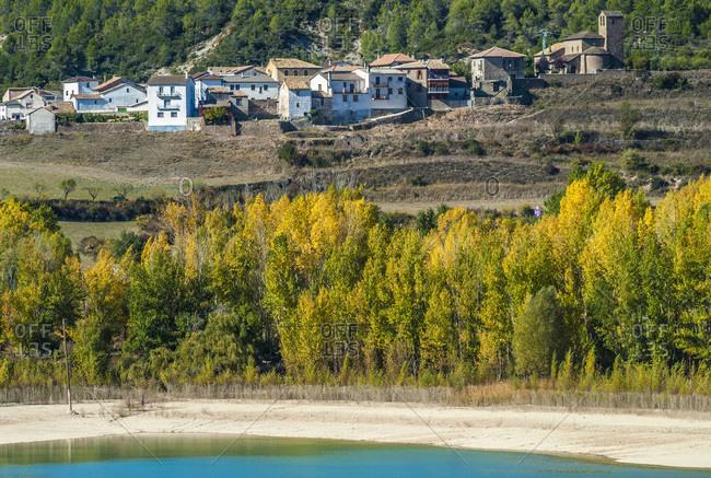 Spain,  Aragon,  village above the Pena irrigation dam lake on the Rio Gallego