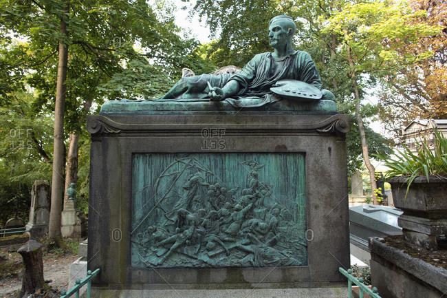 France - September 5,  2019: France,  Paris,  20 th district,  Le Pere Lachaise cemetery,  Gericault's tomb.