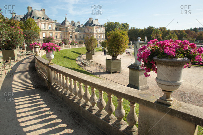 France - September 6,  2019: France,  Paris,  6 th district,  Luxembourg Gardens,   Palais du Luxembourg.