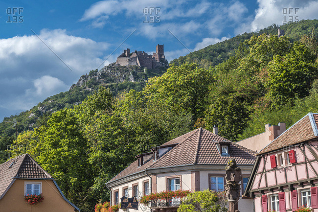 France,  Alsace,  wine route,  houses of Ribeauville and castle