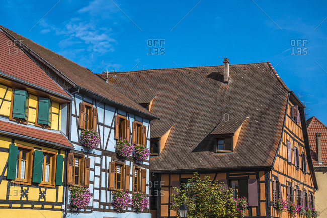 France,  Alsace,  Wine Route,  Ribeauville,  half-timbered houses