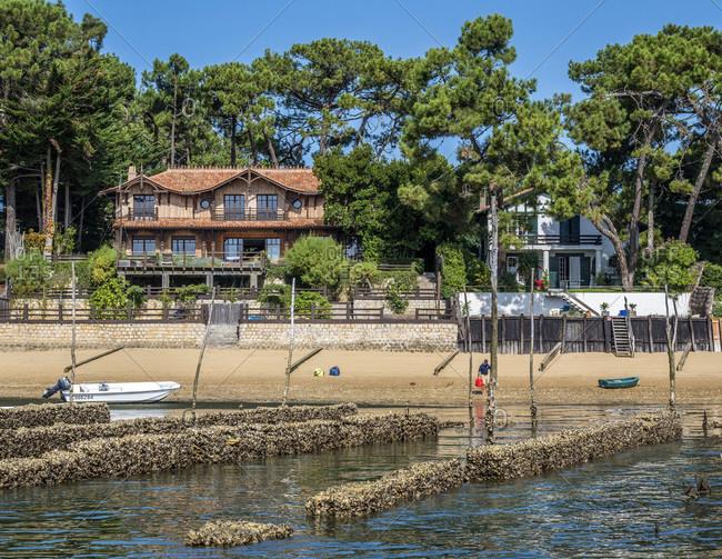 France - September 15,  2019: France,  Arcachon bay,  Cap Ferret,  villas in Piraillan