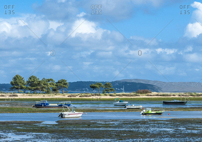 France - May 8,  2017: France,  Arcachon bay,  Cap Ferret,  Conche du Mimbeau at low tide