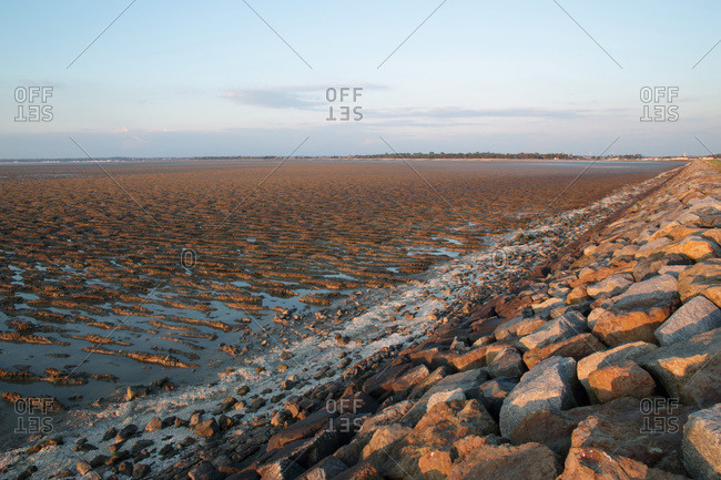 France,  Bourgneuf Bay at low tide,  mud deposits brought by sea currents.