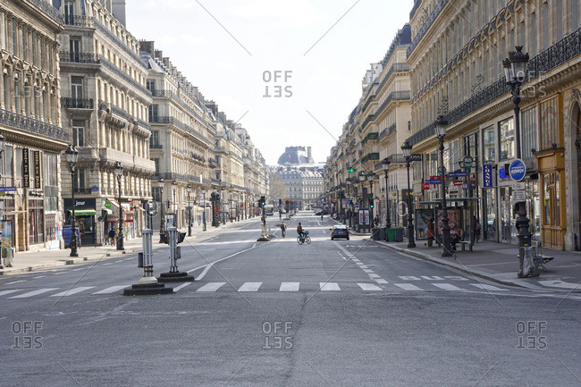 France - March 19,  2020: France Paris,  1st et 2nd arrondissement 20/03/20. No traffic on empty on avenue de l�Opera,  due to the containment obligation decided by the French Government to fight the coronavirus epidemic.