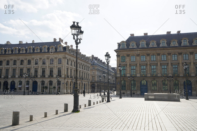 France Paris,  1st arrondissement 20/03/20. No traffic on empty Place Vendome due to the containment obligation decided by the French Government to fight the epidemic.